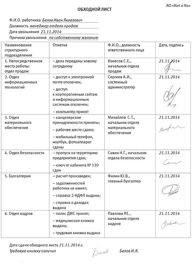Пример оформления обходного листа